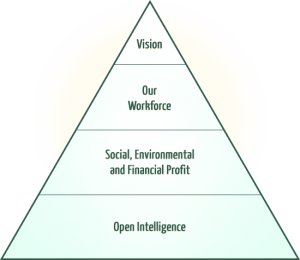 Illustration Showing How Bright Green Futures ensures our comes to life, Based on open intelligence, social, environmenta and financial profit, our work force can snsure our vision is carried out.