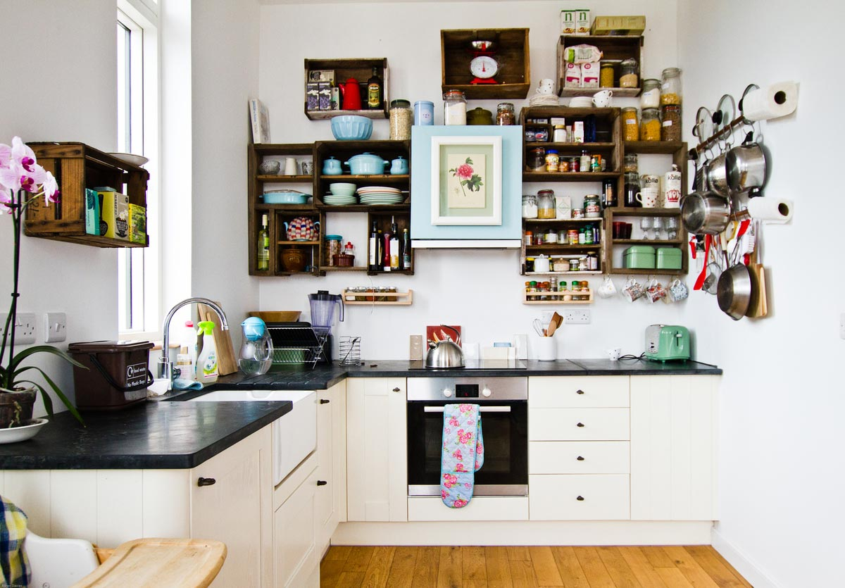 Laura Bawn's Flat Kitchen Full View Bright Green Futures Case Study