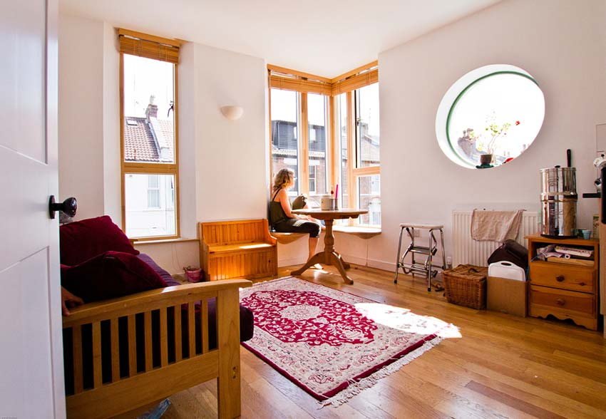 Michelle Asher's Flat Living Space View From Doorway Bright Green Futures Case Study