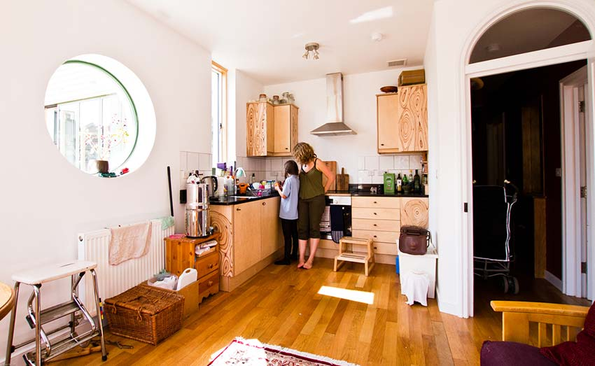 Michelle Asher's Flat Living Space and Kitchen View From Corner Bright Green Futures Case Study