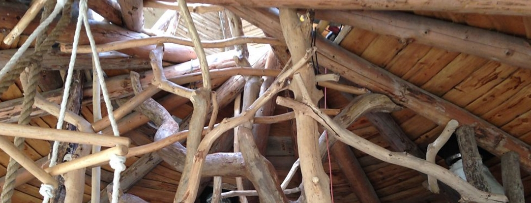 One Planet Development Dwelling Roof Structure From The Inside Lammas Ecovillage Bright Green Futures