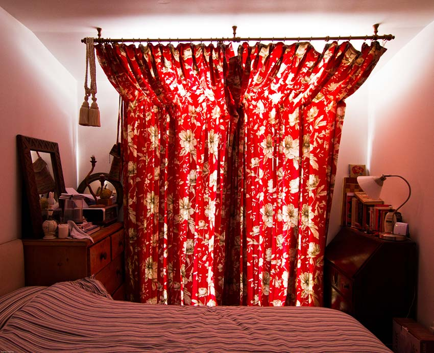 Sam and Henry's Flat Bedroom Curtains Closed Full View Bright Green Futures Case Study